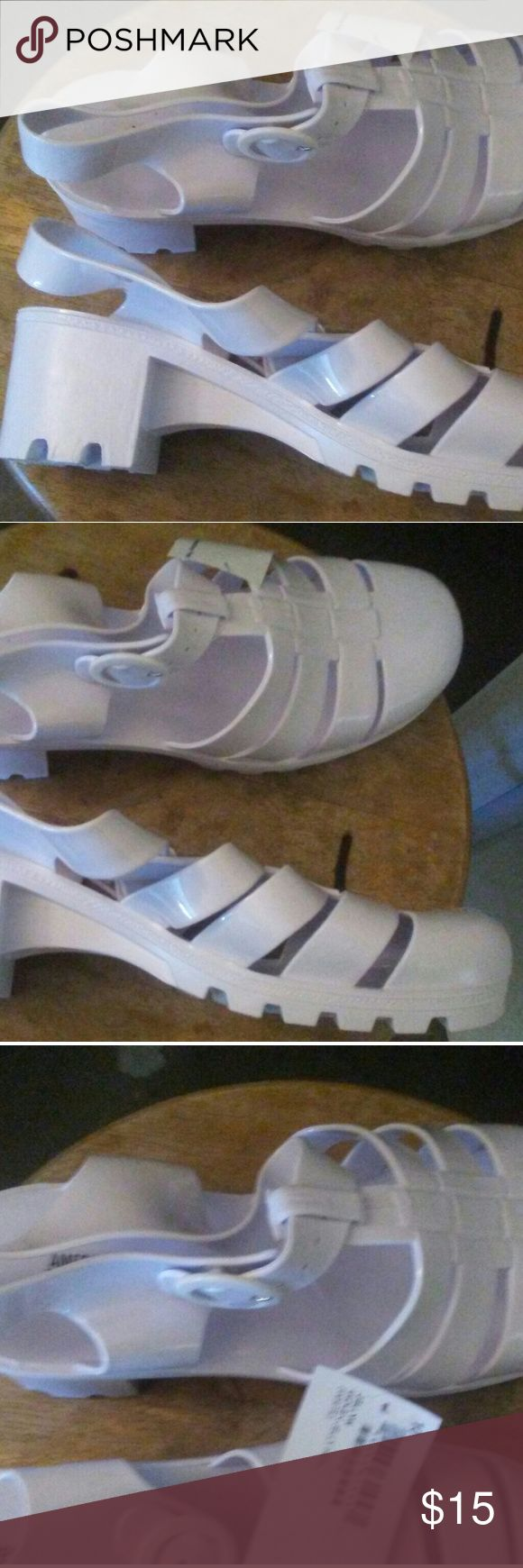 Black jelly sandals american apparel - White Jelly Sandals Hi Heel American Apparel Block Heel White Jelly Sandals