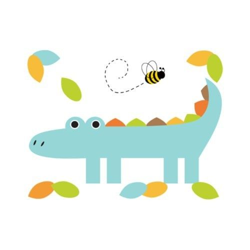 """Mod Alligator Wall Mural for baby boy nursery or kids room decor - measures 21.5"""" (54.61cm) Wide and 16.5"""" (41.91) Tall #decampstudios http://cgi.ebay.com/ws/eBayISAPI.dll?ViewItem=370894157726"""
