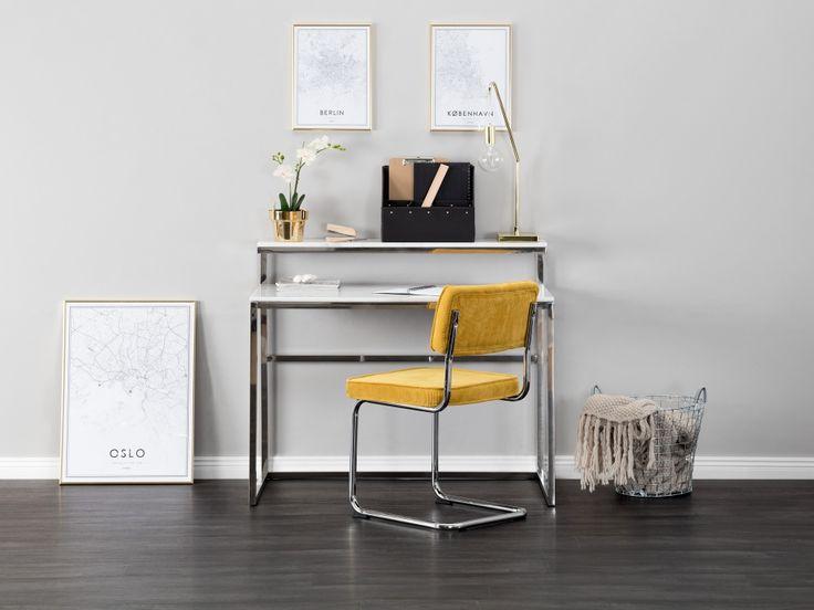 CARRIE Skrivbord 110 Stål/Vit - Skrivbord i stål med skiva och hylla i vit marmor. Mått: B110 D65 H95 cm.