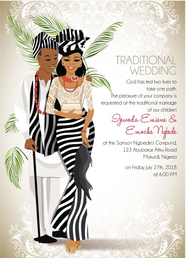 Nigerian Benue Traditional wedding invitation Card