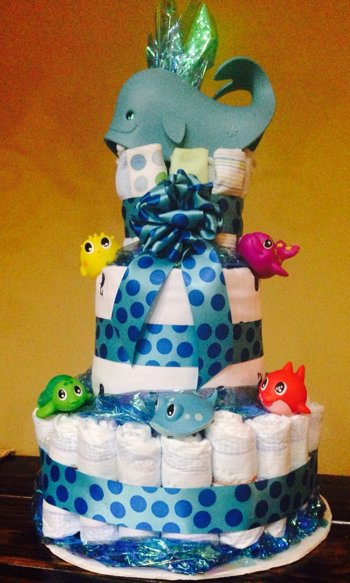 Whale Diaper Cake with recording blankets, burp cloths and washcloths