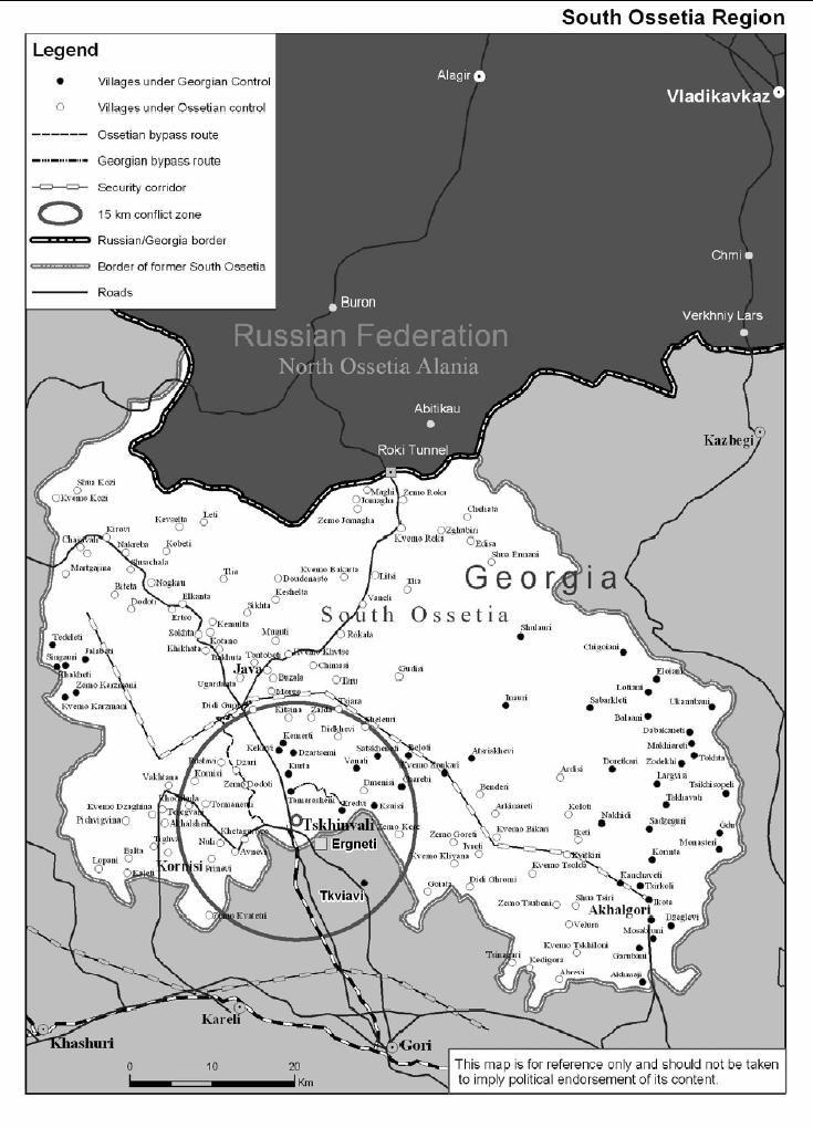 Map of South Ossetia (November 2004)