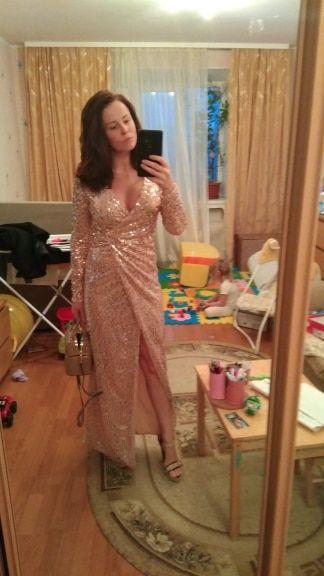 31780765b041 Joyfunear Club Wear Party Dress Womens Pink Gold Knot Deep V Neck Twist  Front High Slit Long Sleeve Sequin Maxi Dress in 2019 | Dresses | Dresses,  Gold, ...