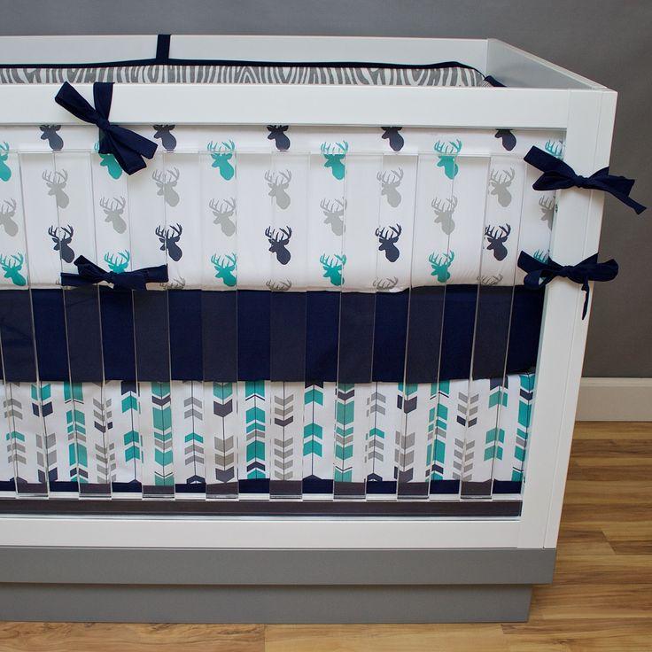 Marvelous Teal Forest Crib Bedding