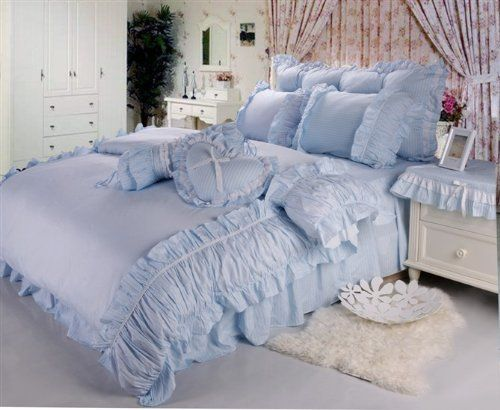 DIAIDI,Blue Bedding Set,Princess Ruffle Comforter Set,Rustic Rural Bed Set,Queen Size Duvet Cover,6Pcs DIAIDI,http://www.amazon.com/dp/B00CG1P2U4/ref=cm_sw_r_pi_dp_39lEtb1DDS44PK9K