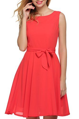 Zeagoo Women Chiffon Summer Sleeveless A-line Pleated Party Cocktail Dress With Belt ** Additional info @ http://www.amazon.com/gp/product/B01CGE8L3K/?tag=passion4fashion003e-20&bc=200816044428