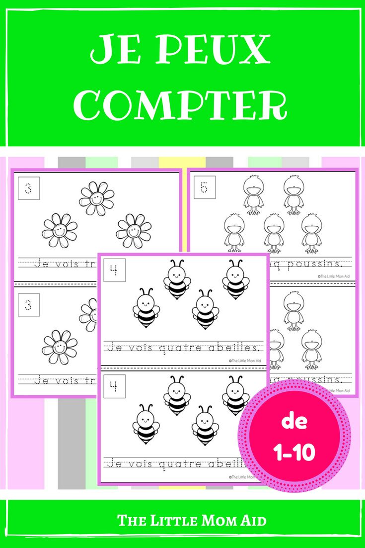 This Je Peux Compter: Le Printemps is a French emergent reader that will help students practice counting 1 to 10. This French counting activity comes with 2 versions (see the preview). In one version students count the pictures, then trace the number and a sentence. The second version requires students to count the pictures, then write the number and fill in the blank with the number word. On last two pages of each book students practice tracing numbers and number words. Counting | Math…