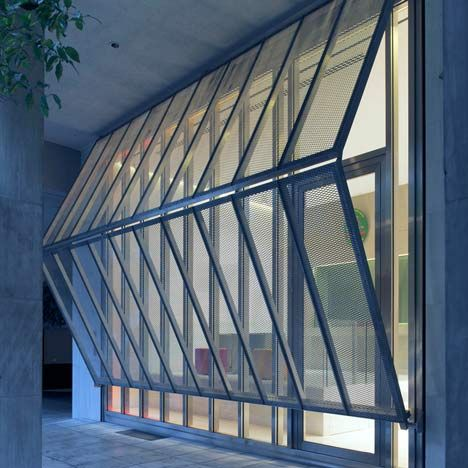 Folding steel shutters and bullet-proof glass protect the new reception of theBelgianEmbassy in Athens byBuerger Katsota Architects.