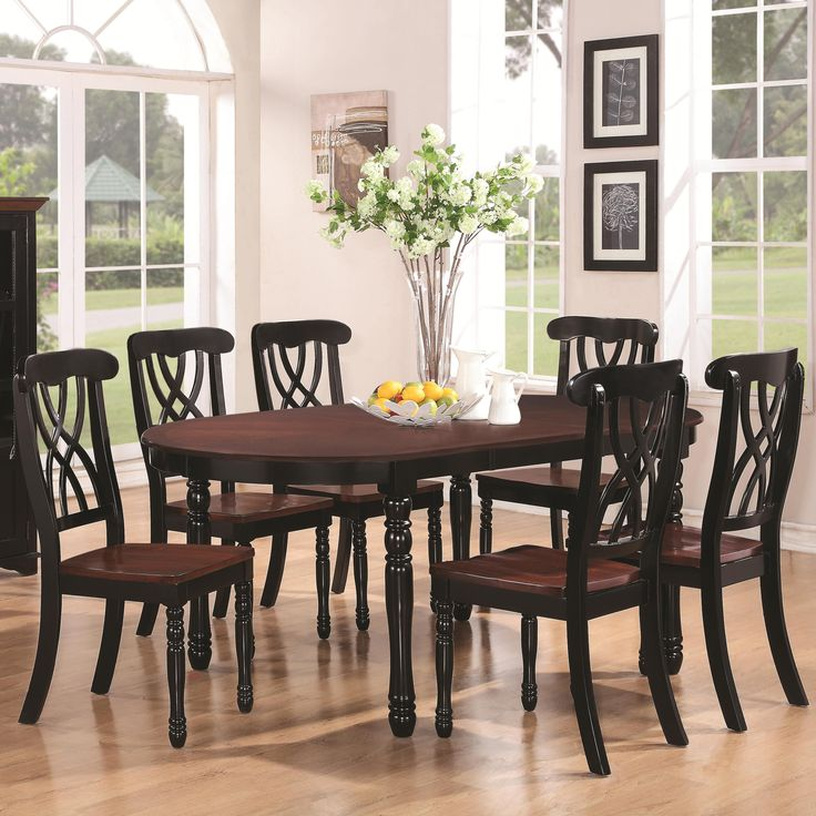 Addison Seven Piece Oval Leg Dining Table With One Leaf U0026 Double Waved X  Back
