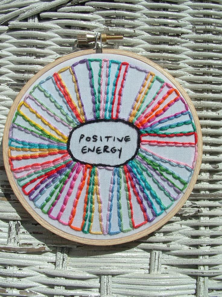 Positive Energy - Embroidery Hoop Art