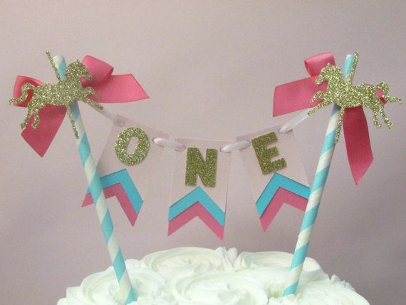 Carousel Cake Topper, Carousel First Birthday, Circus First Birthday, Carousel Horse Age Topper, Pink Aqua Carousel Pink Teal Carousel Decor