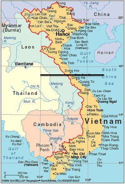 17th Parallel Vietnam Map.July 1954 The Geneva Accords Establish North And South Vietnam With