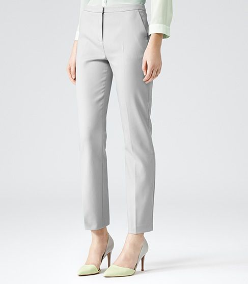 Womens Neutral Straight Leg Trousers - Reiss Londra