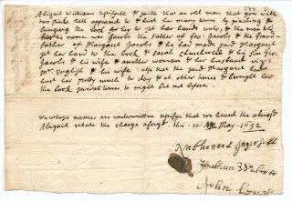 Written testimony of Abigail Williams against George Jacobs, 1692. #salemwitchtrials