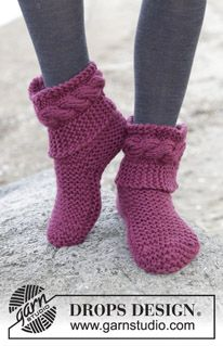 "Violetta - Knitted DROPS slippers in garter st in 2 strands ""Alaska"". - Free pattern by DROPS Design"