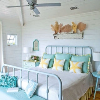 Aqua beach room w/ an old painted iron bed frame. Redecorating and looking for some inspiration!