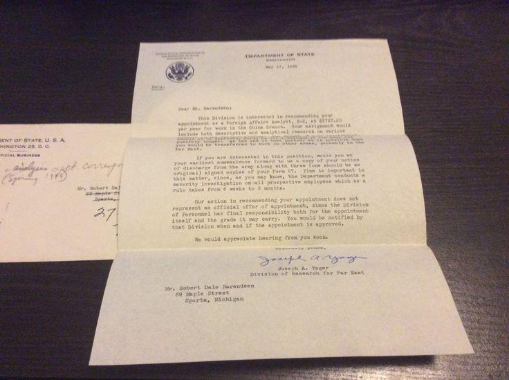 1949 Department of State job offer letter signed Joseph Yager - job offer