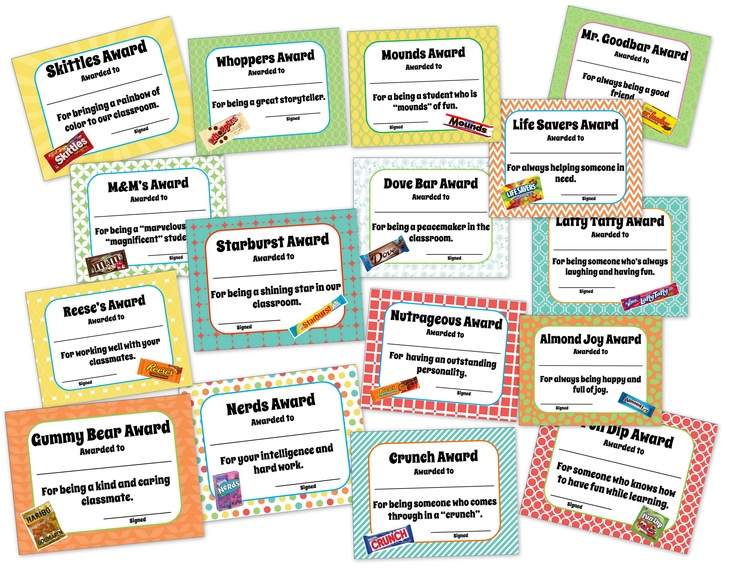 32 fun awards for your students with a candy bar theme!  This is a great way to end the year, and recognize every student.  You can pass out the awards alone, or with the matching candy.