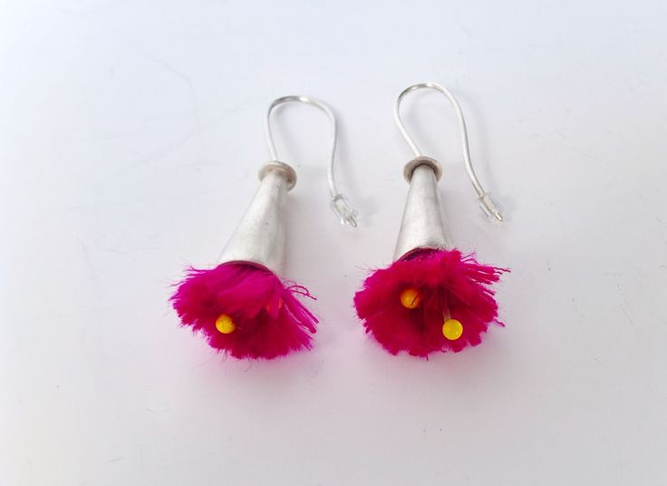 Long Silver Stand Out Earrings Fuchsia Flowers Earrings Dangle Earrings Light Weight Graduation Gift Anniversary Gift Girlfriend Gift by CarducciArt on Etsy