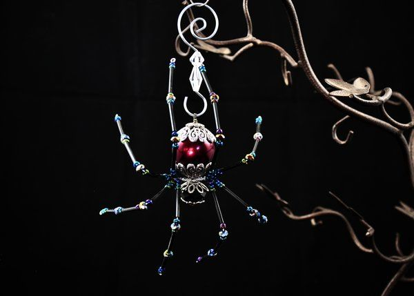 Extra Large Plum and Iridescent Twisted Spider
