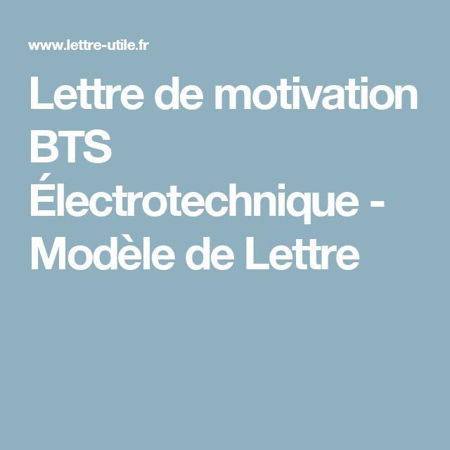 Lettre de motivation BTS Électrotechnique - Modèle de Lettre