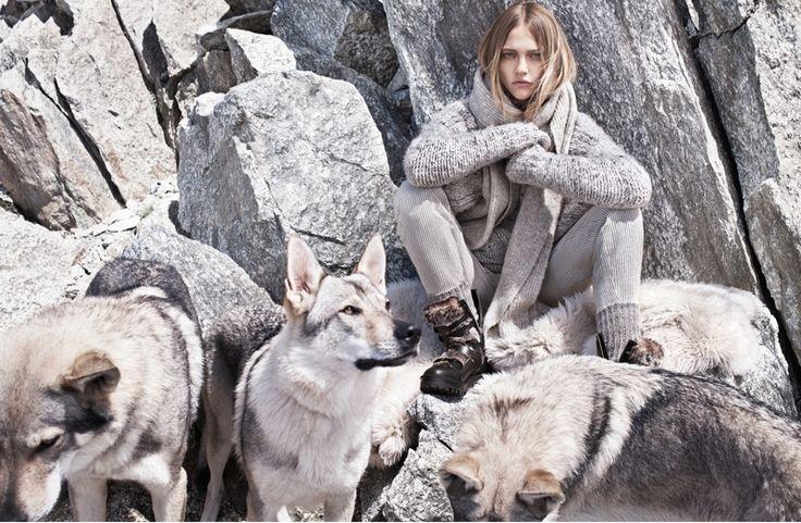 Sasha Pivovarova wears sweaters for Mango winter 2015 catalog Lookbook Photoshoot