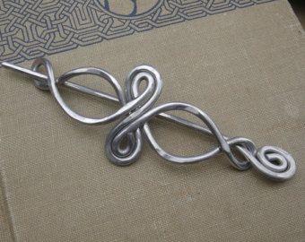 Aluminum Spiral Snail Shawl Pin Scarf Pin by nicholasandfelice