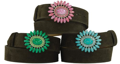 Detachable flowerburst buckles from Italy - handmade in stone and Swarovski crystal. £95.