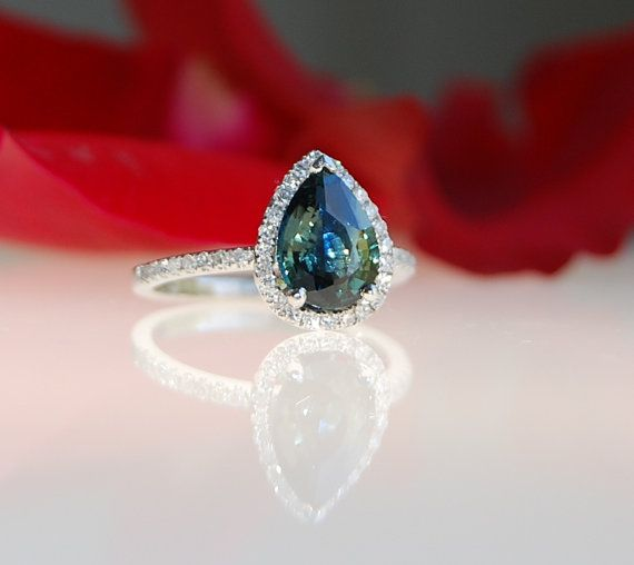 2.1ct pear Peacock green blue color change sapphire diamond ring Platinum 900 engagement ring
