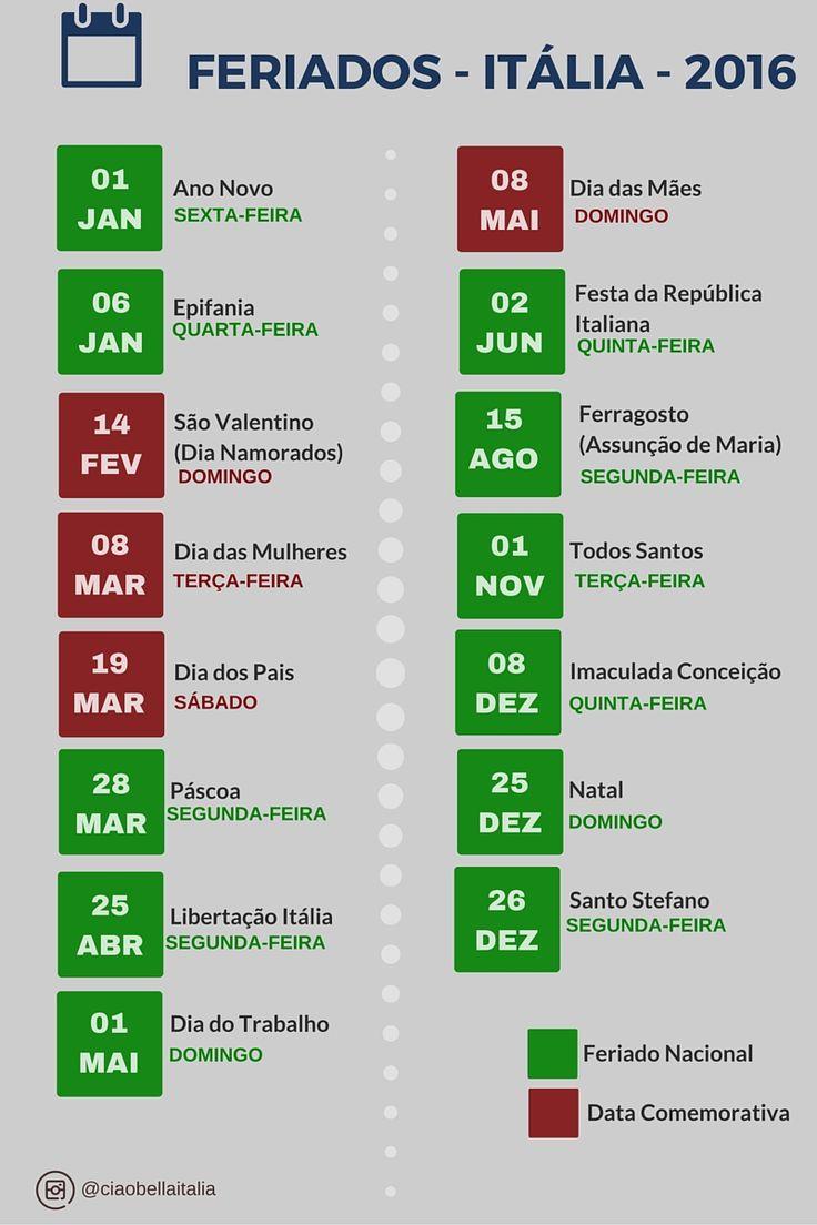 Feriados na Itália 2016  Calendário Italiano 2016