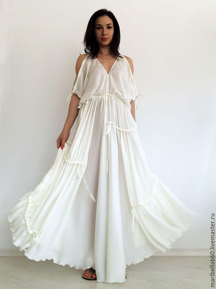 Купить или заказать Белое платье макси, свадебное платье, платье для пляжа, вечерне платье в интернет-магазине на Ярмарке Мастеров. Красивое белое платье - BLANCA Очень нежное и легкое платье в пол. Платье отлично подходит свадебная церемония на пляже. * Длина: платье в пол * Ткань: полиестр, шифон,айвори * Размер: XS - 3XL * Цвет: Белый ------------------------------------------------------------------------- Таблица размеров XS (US 0 / EU 32 / UK 4): Обхват груди 30in (76см) Обхва...
