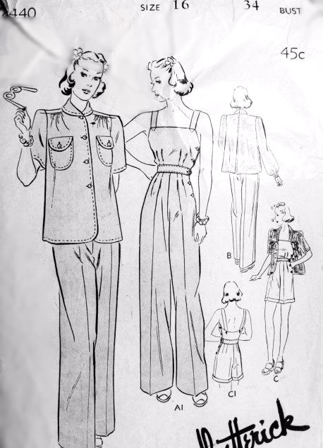 1940s Coverall Pants and Jacket Pattern BUTTERICK 8440 OverAlls in 2 Lengths Jacket Short or Long Sleeves Rosie Riveter Bust 34 Vintage Sewing Pattern