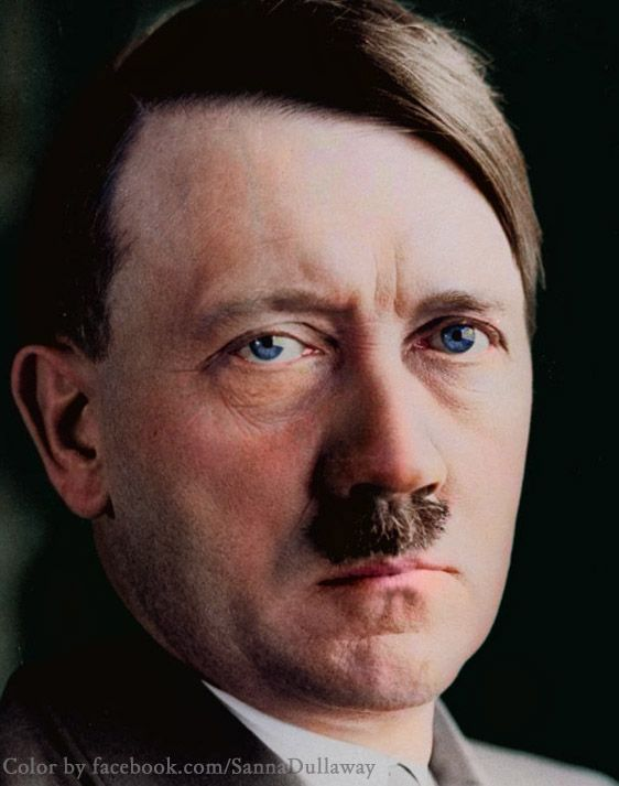 Adolf Hitler in color. God that nasty mustache... And the soul-less eyes.