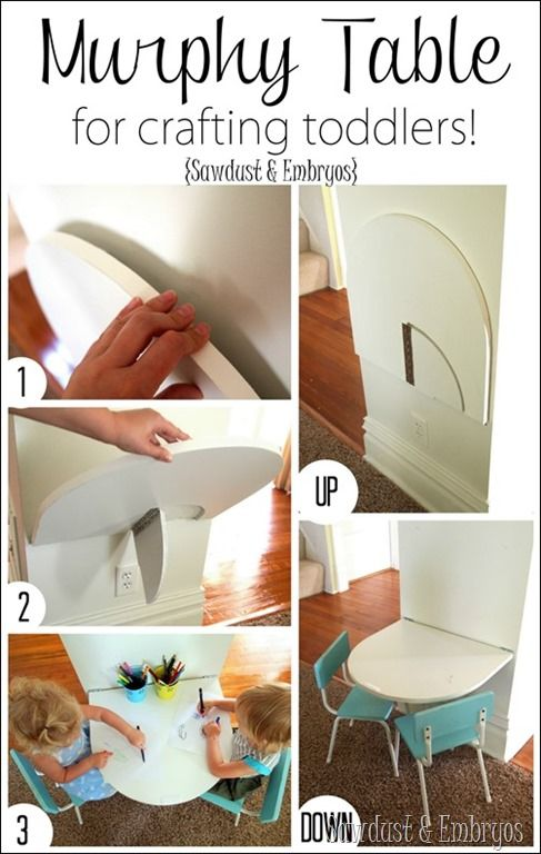 Simple instructions for building a small table that folds down from the wall {Sawdust and Embryos}