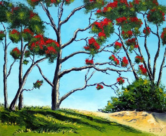 Original Pohutukawa Oil Painting by PaletteKnifeArt on Etsy