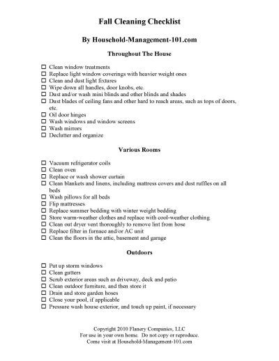 Free fall cleaning checklist printable to get your home clean and ready for colder weather {on Household Management 101}