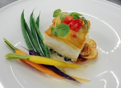 Crispy Halibut with Tomato Confit | Peter Callahan - Catering & Events