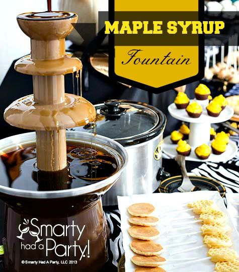 Fondue fountains aren't just for chocolate. Check out the maple syrup breakfast fountain and other creative ideas by #SmartyHadAParty