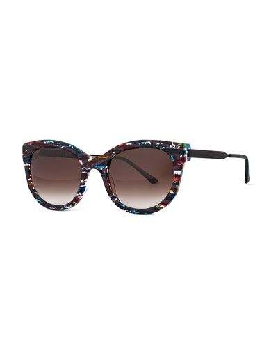 Thierry+Lasry+Lively+Limited+Edition+Vintage+Pattern+Square+Sunglasses+Black+Multicolor