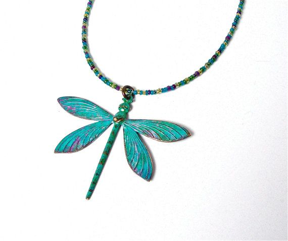 Dragonfly necklace green blue dragonfly by sparklecityjewelry