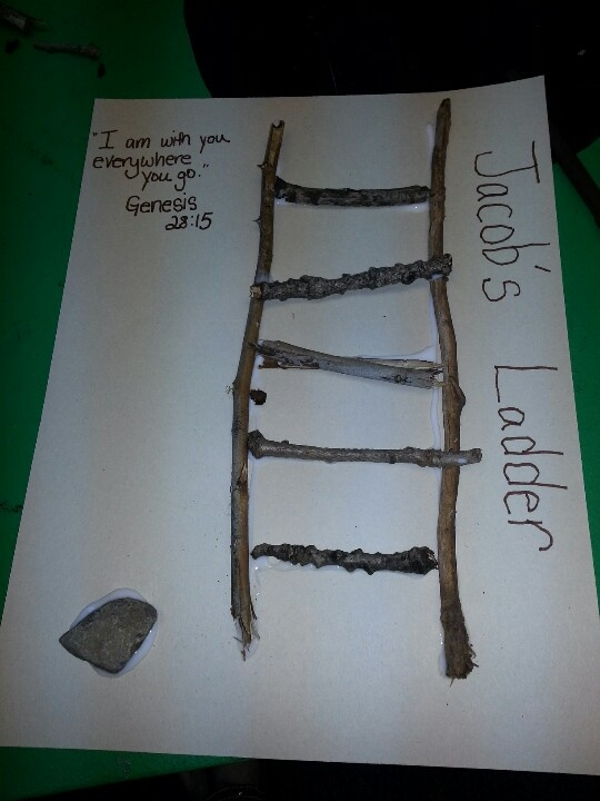 This is what I came up with as a craft for my Sunday School Classes lesson on Jacob's Ladder. The rock represents the flat rock Jacob laid his head on to sleep.