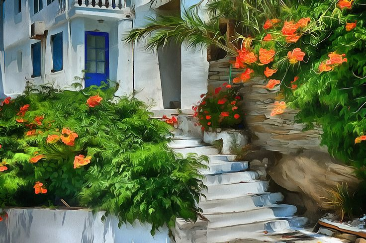 Stairs and flowers. Batsi, Andros.