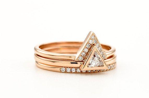 Trillion Diamond 3 Rings Set   Triangle Diamond by KATjDesign