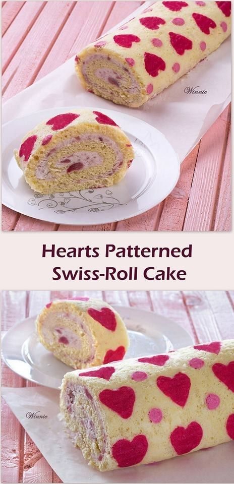 Hearts Patterned Strawberry Swiss Roll Cake | Community Post: 15 Amazing Recipes To Make With Strawberries