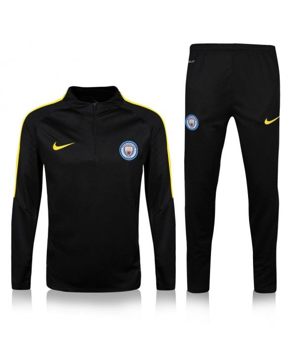 Manchester City  2016 2017 black training sweatshirt set soccer jersey
