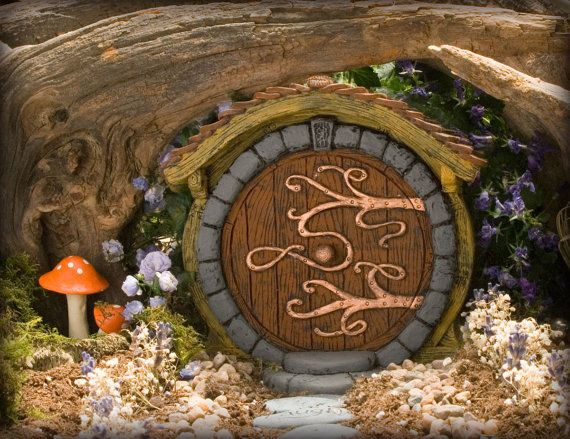 Brown Hobbit/ Fairy Door by HiddenWorlds on Etsy, $35.00