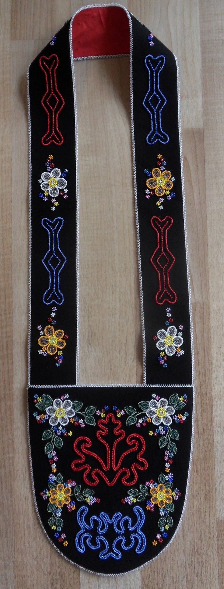 ~Following Tradition~ A Tahltan Inspired Bandolier Bag: Beaded with traditional Tahltan symbols and floral beadwork by Carmen Dennis (Tahltan)