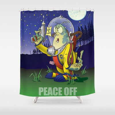 Peace Off! Shower Curtain by Nameless Shame - $68.00