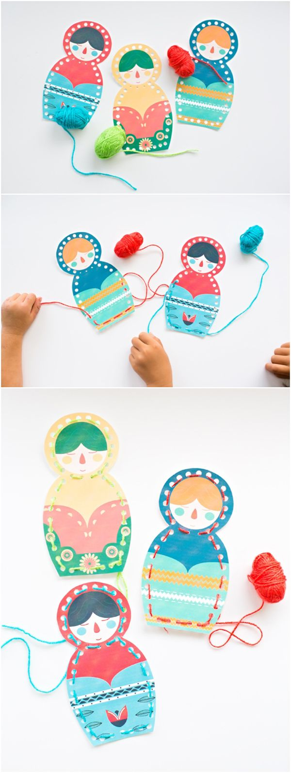 Free Printable Matryoshka Nesting Doll Lacing Cards for Kids. Such a cute threading and fine motor skills activity.