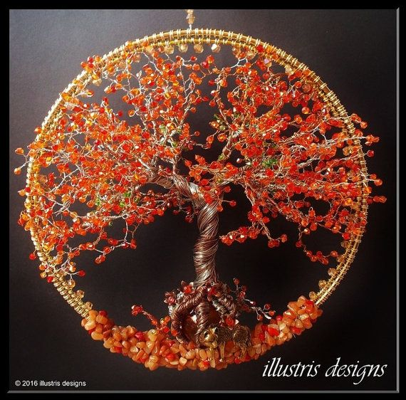 The immortelle tree of life. This is a immortelle wire tree. The immortelle tree is an actual tree and grows mainly in the mountains of the caribbean island Trinidad. It flourishes right after rain season and has a stunning orange color. The immortelle tree is a mother tree and it symbols shelter and protection.The wolf complements this by his nature of loyalty and strength. With countless of hours I handmade this unique piece. Using only the best materials like Swarovski crystal, glass…